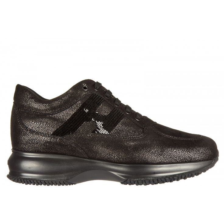 Women's shoes leather trainers sneakers interactive h mocro paillettes cascata