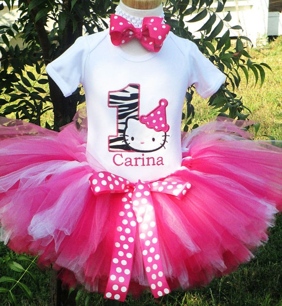 Hot Pink with Zebra Hello Kitty Birthday Number Tutu Outfit by Tutu Bella Couture on Etsy, $54.95