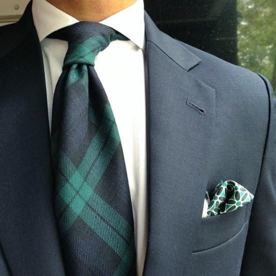 Tartan tie with navy suit...love it