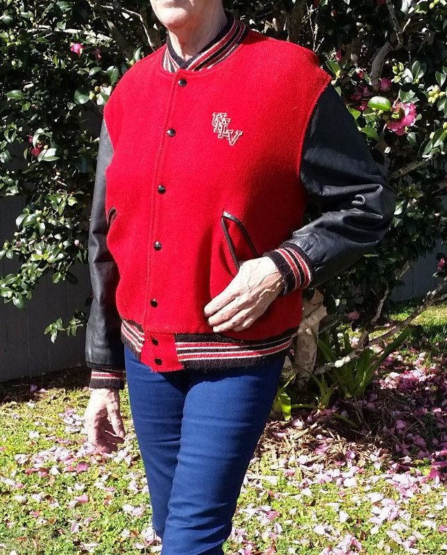 Vintage Letterman Leather College Football Jacket - UNLV University Nevada Las Vegas by ConstellationCraftAU on Etsy