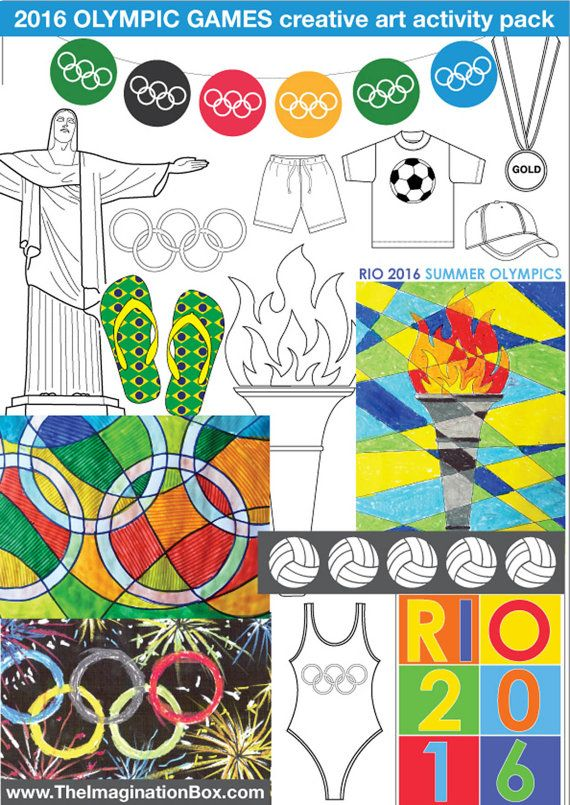 Kids Summer Games 2016 Bumper Art & Craft Activity Pack. Brazil Olympics colouring sheets. Torch, medals.  Instant download 41…