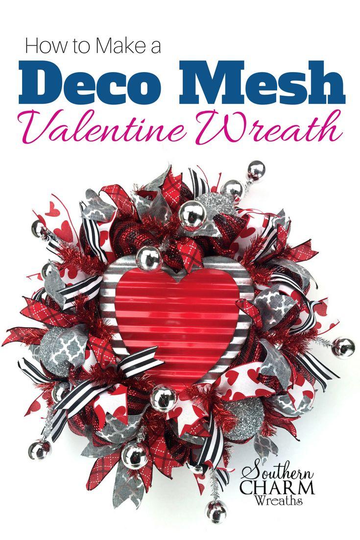 466 best our wreath blog images on pinterest christmas deco how to make a deco mesh valentine wreath rubansaba