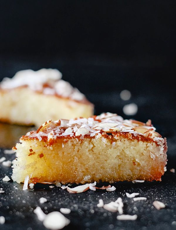 Suzy Karadsheh's Egyptian Basbousa Cake (Semolina Cake with almonds, coconut, and yogurt) | teamyogurt.com @themeddish