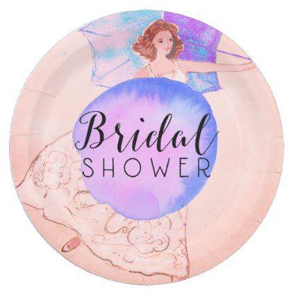 #Warm Pink Bridal Shower Bride Illustration Paper Plate - #bride gifts #bridal ideas unique personalize