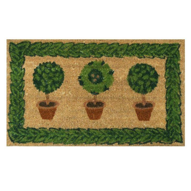 Grandma's Plants 18 in. x 30 in. Coir Entrance Mat, Green-Tan