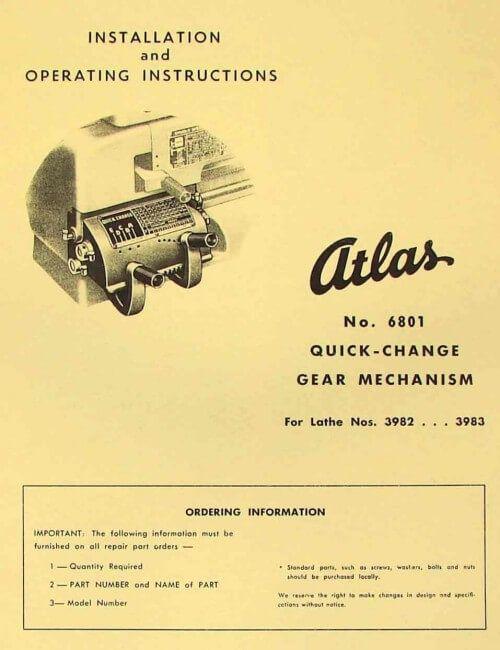 Atlas Craftsman 12 Metal Lathe 3980 3981 3982 3983 3990 3991