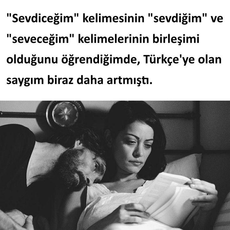 """""""Sevdiceğim"""" kelimesinin """"sevdiğim"""" ve """"seveceğim"""" kelimelerinin birleşimi olduğunu öğrendiğimde, Türkçe'ye olan saygım biraz daha artmıştı. #sözler #anlamlısözler #güzelsözler #manalısözler #özlüsözler #alıntı #alıntılar #alıntıdır #alıntısözler #şiir #edebiyat"""
