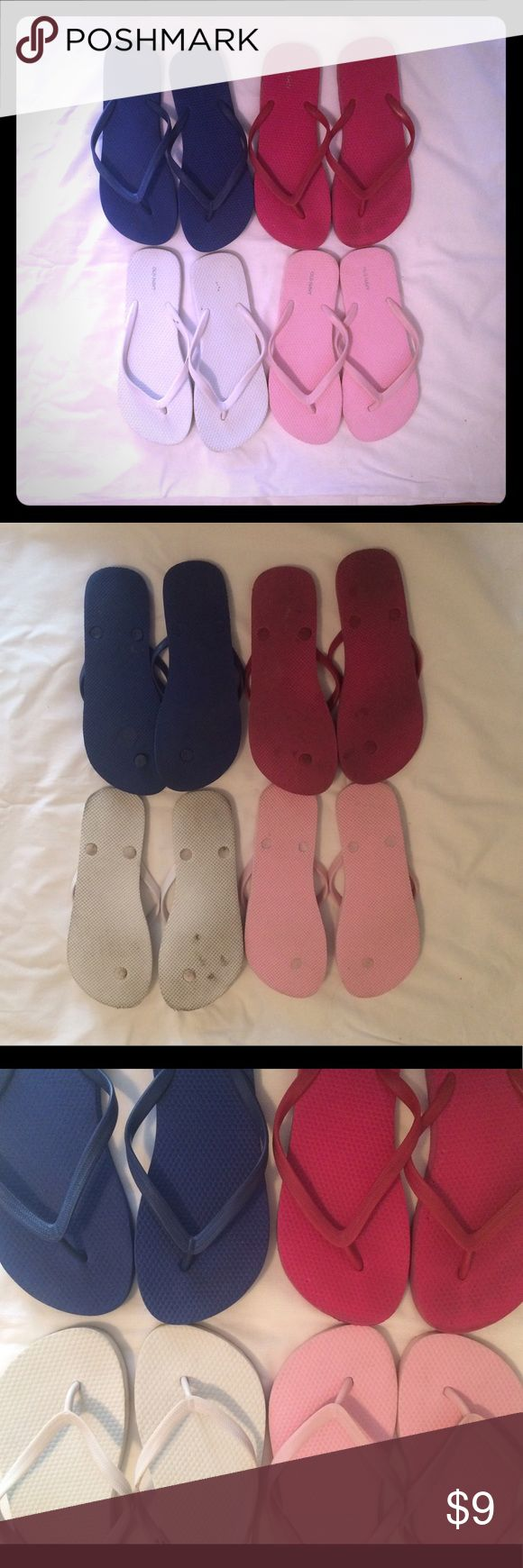 Women's Old Navy flip flops bundle Women's Old Navy flip flops bundle size 9. Colors are cobalt blue, light pink, hot pink and white. Light pink ones are barely worn. White ones have some black marks on them and hot pink ones have some tiny bite marks from my cat, but not noticeable when on. Old Navy Shoes Sandals