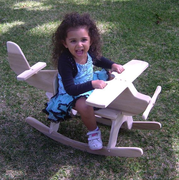 Wooden rocking airplane made by etsy seller