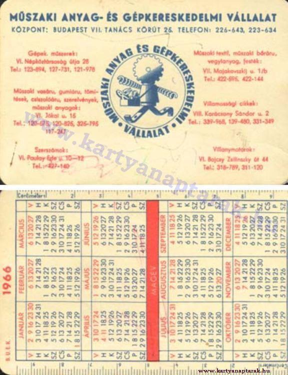 1966 - 1966_0095 - Régi magyar kártyanaptárak