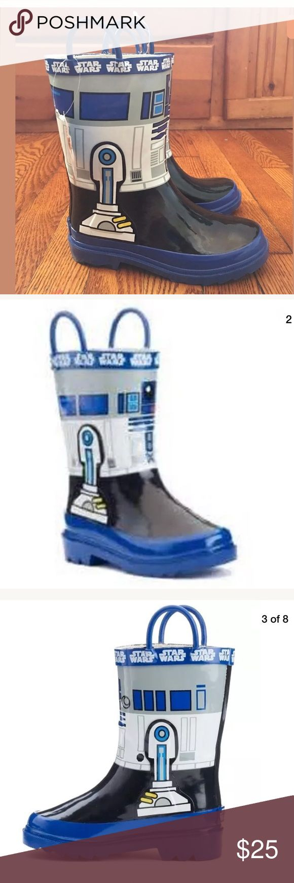 Disney Star Wars R2-D2  Boys Rain Boots 13  1 Star Wars R2-D2  Boys Rain Boots  Size 13  and 1 New without box  Smoke and pets free home Disney Shoes Rain & Snow Boots