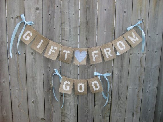 GIFT From GOD - Baby Shower Banner with Fabric Heart or Teddy bear stencil- Custom ANY Color. Great for Baby Boy or Baby Girl Nursery. on Etsy, $393.18
