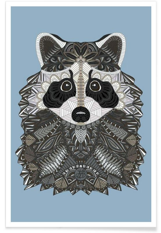 Tangled Raccoon als Premium Poster von Angelika Parker   JUNIQE
