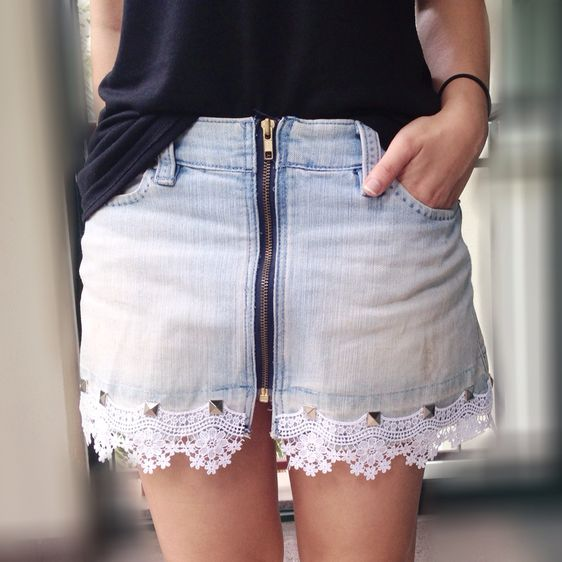 This jean skirt is so fun,  Find more free #DIY #tutorials at www.guidecentr.al and download the free app at www.guidecentr.al/download #guidecentral #pintorial