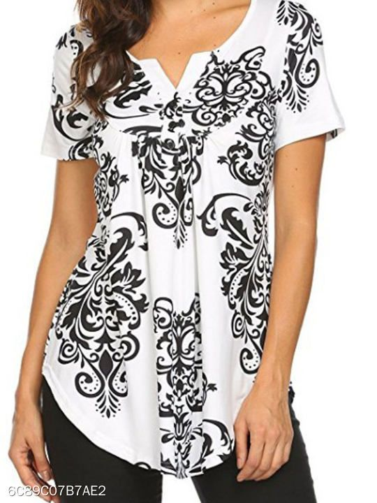 c614e62703cb Summer Cotton Women V-Neck Asymmetric Hem Decorative Button Floral Printed  Short Sleeve T-Shirts