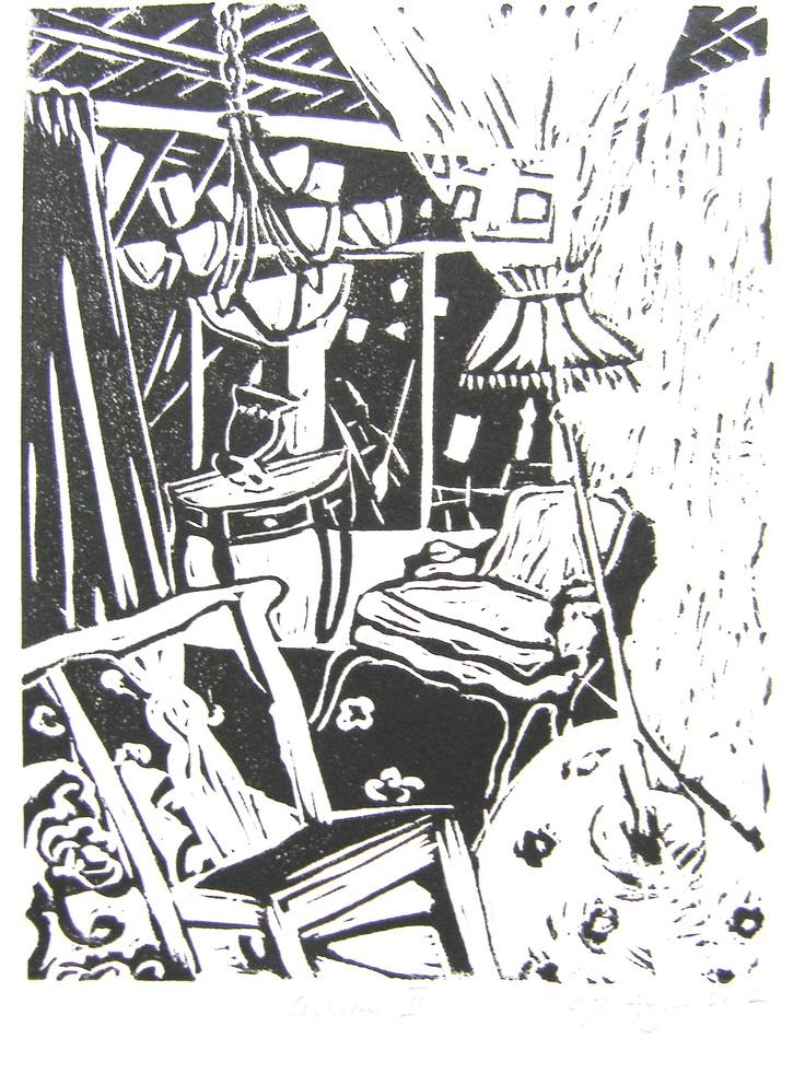 Second print in Quake lino print series. Lighting sways and furniture rocks.