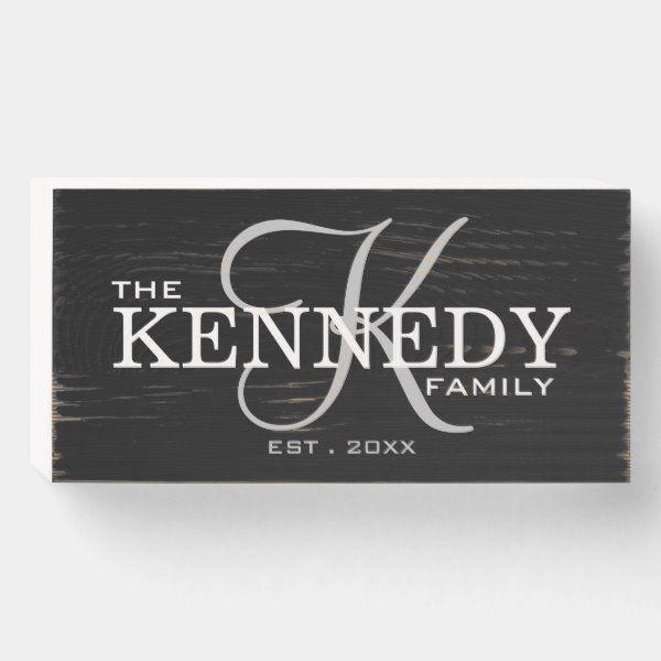 Black Family Monogram Last Name Wooden Box Sign Zazzle Com In 2020 Family Signs Diy Wooden Family Signs Wooden Signs Diy