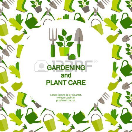 Plat ontwerp banner voor tuinieren en tuinbouw met logo tuingereedschap en…