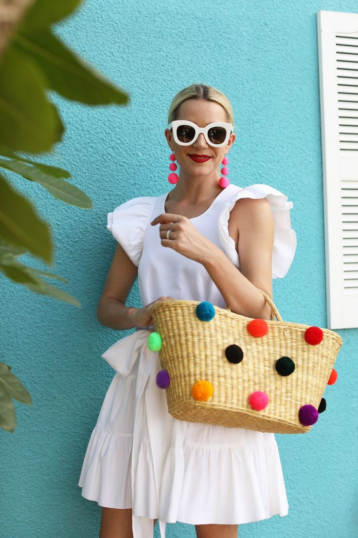 Atlantic-Pacific blog// nyc blogger, siesta key, sarasota florida, pom pom beach tote, white ruffle dress, white celine sunglasses, bauble bar earrings