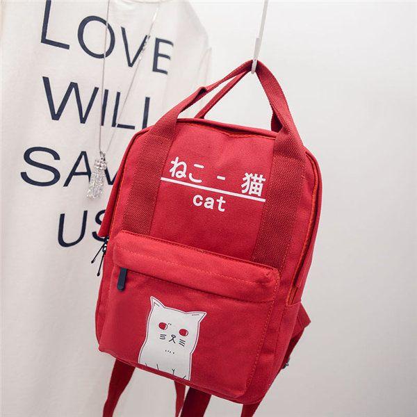 Mulheres Men Casual Cute Cat Fluorescência Elegante Canvas School Bag Shoulder Bag Backpack Online - NewChic