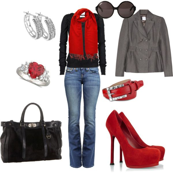 I love the red scarf on the black--this would have been a great outfit for Valentine's Day!Women Outfit, Women Fashion, Woman Fashion, Woman Outfit, Style, Red Shoes, Heels, Red Accent, Red Black