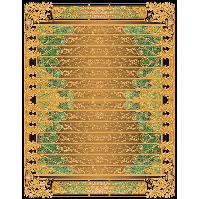 Золотисто-черный ковер с объемным изображениям Edem
