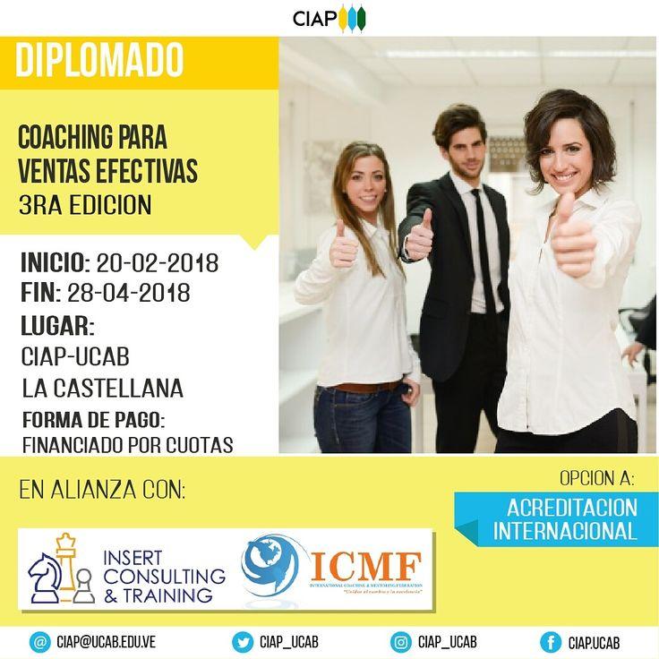 3a. Edición @insertct   COACHING PARA VENTAS EFECTIVAS  * 20 de febrero al 28 de abril del 2018  * @CIAP_UCAB, La Castellana, Caracas   Opción de Acreditación Internacional   Mgst. Hugo Leal A. CEO * E-mail: insertct@gmail.com * Teléfono: +58(424)2925600 / +58(212)4172876 * Twitter: @insertct * http://www.insertconsultingtraining.com   #ventas #coaching #UCAB #HugoLeal #exito #expodato #repost #católica