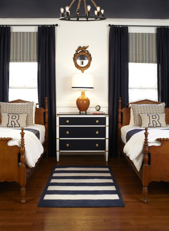 Get Cozy in This Ultratraditional Navy-and-White Boy's Room