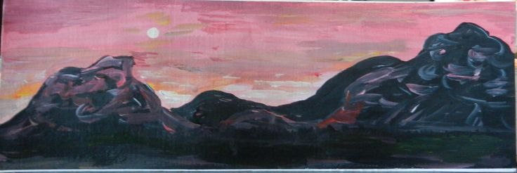 Hand-Painted Bookmark, Landscape, Pink Sunset and Full Moon over Mountains, hand painted acrylic, book gift, art, colourful, colourful by FHarrisArtShop on Etsy