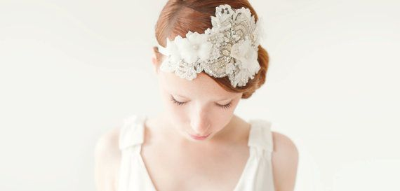 Bridal Fascinator, Head Piece, Rhinestone Hair Piece, Wedding Hair Accessory, ivory, silver, velvet - Heart Whispers