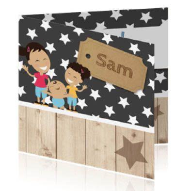 Geboortekaartjes met steigerhout en sterren. Stel je eigen gezin samen met zusje , zusjes, broertje, broertjes.  Huidskleur baby, broertjes en zusjes zijn aan te passen.