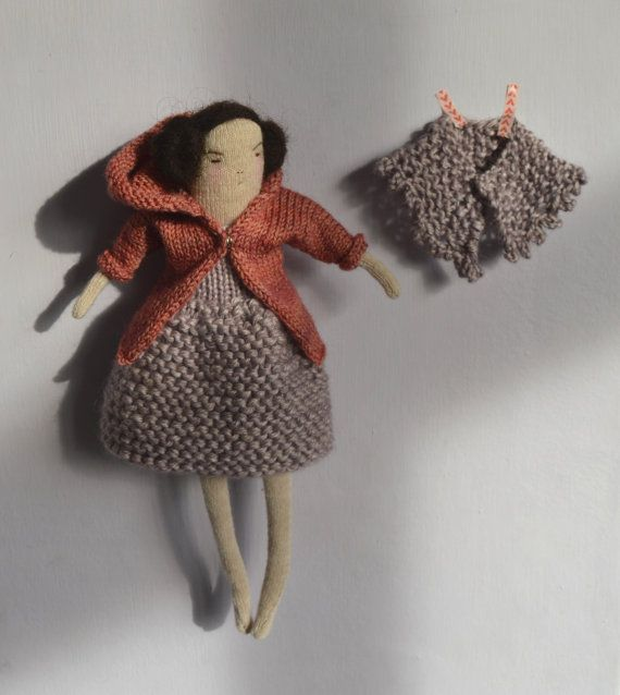 Lilac A knitted art doll with coat and shawl by melodiestacey