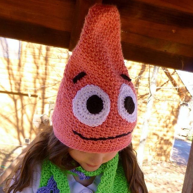 Free Crochet Pattern Patrick Star : Silly Hat and Scarf Set, Inspired by Patrick Star ...