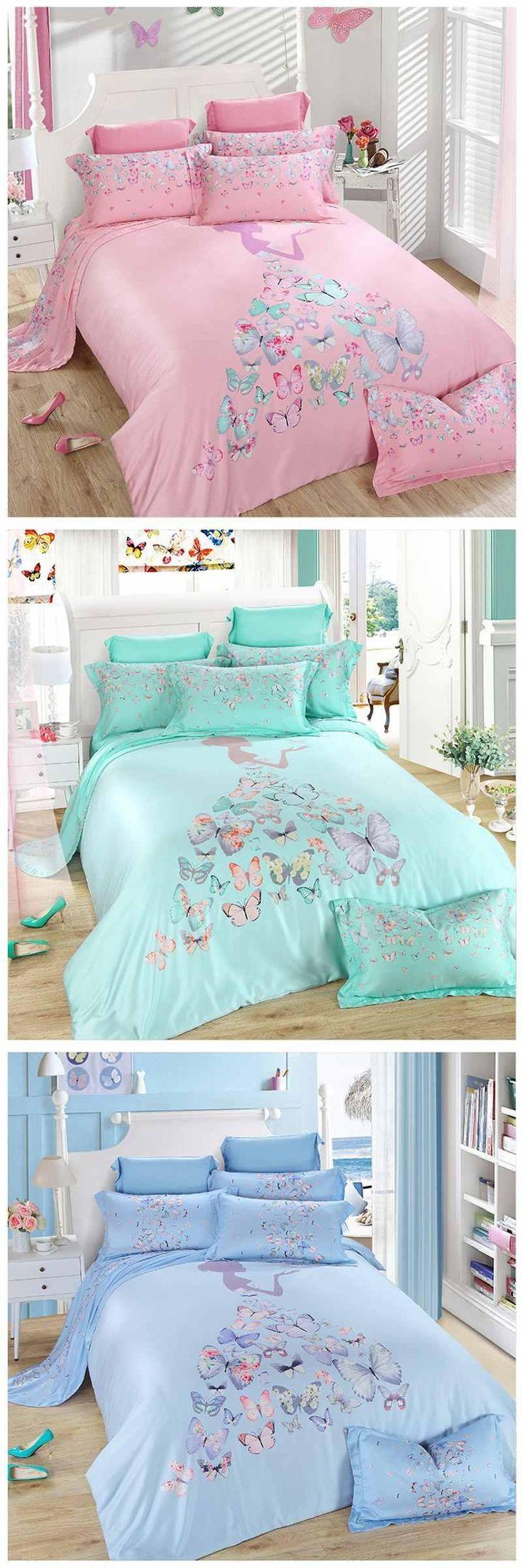tencel bedding set princess 4pcs butterfly duvet cover bed sheet linen home pillowsking