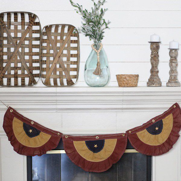 our vintage look tea stained american flag bunting adds to your patriotic decorations this american