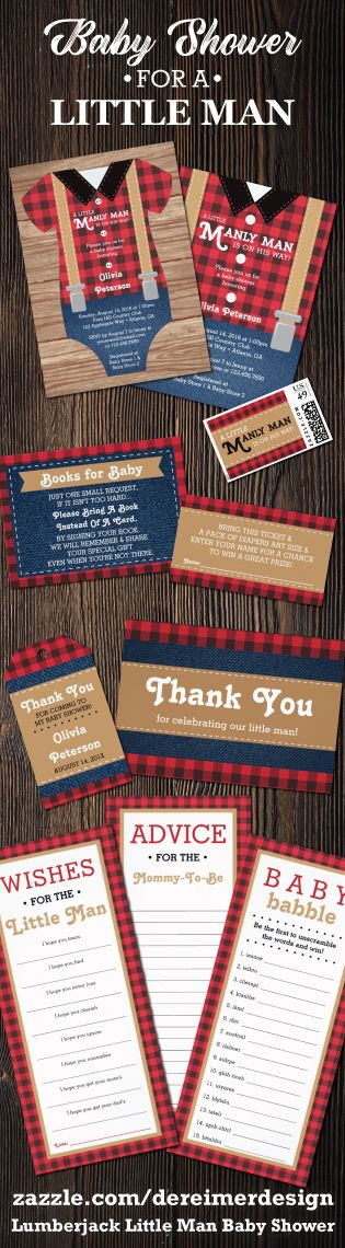 Lumberjack Little Man Baby Shower Collection, Red and Black Plaid, Woodland Baby…