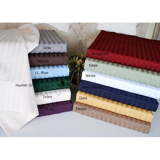 Simple Elegance Luxor Treasures Egyptian Cotton 400 Thread Count Striped Split King-size Sheet Set in
