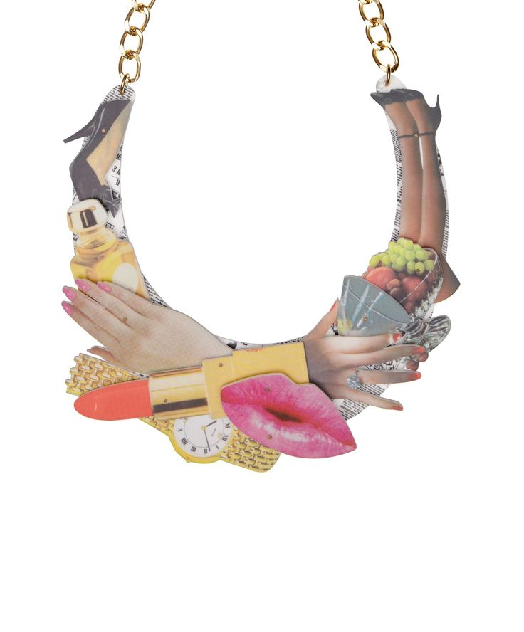 Magazine Collage Statement Necklace - make headlines in this limited edition necklace, inspired by iconic 80s adverts > http://www.tattydevine.com/magazine-collage-statement-necklace