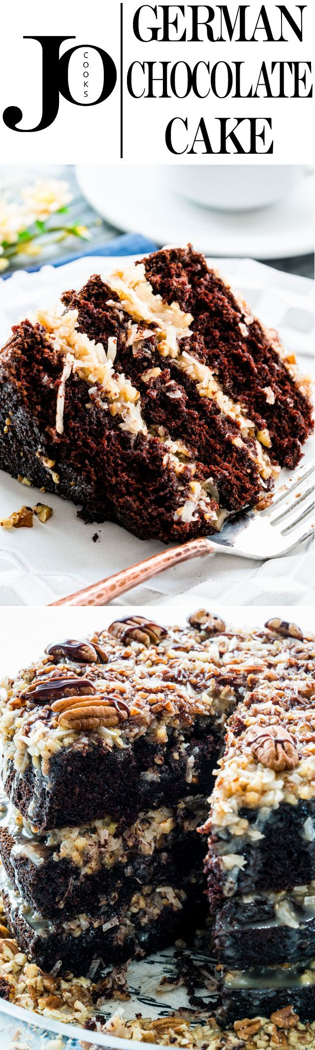 A traditional homemade German Chocolate Cake with layers of moist and delicious chocolate cake and a rich coconut and pecan frosting!