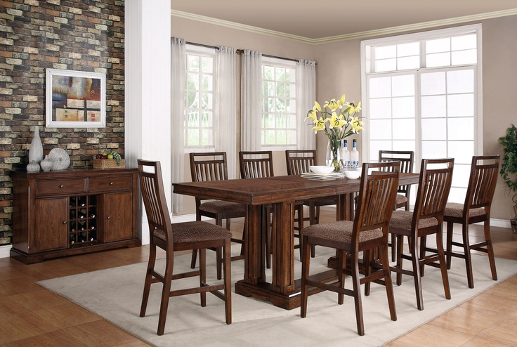 Dorris Dining Collection :: Elegant and elaborate piece features a design that creates a plank top look while two  double pedestals add unique character.