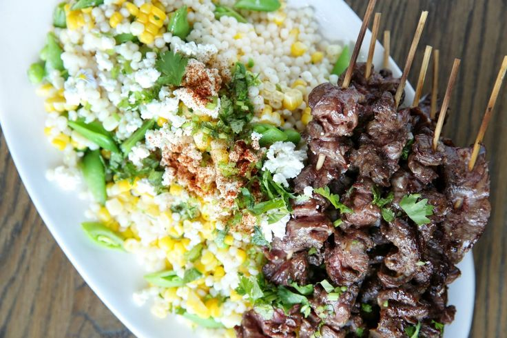 Steak Skewers with Mexican Corn Couscous Salad