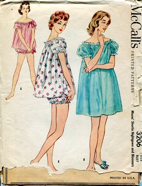 Sewing Patterns Vintage Out of Print Retro,Over 7000 ,Vogue Simplicity McCall's - McCall's 3206 Retro 1950's Baby doll Pajamas Pj's Nightgown Lingerie
