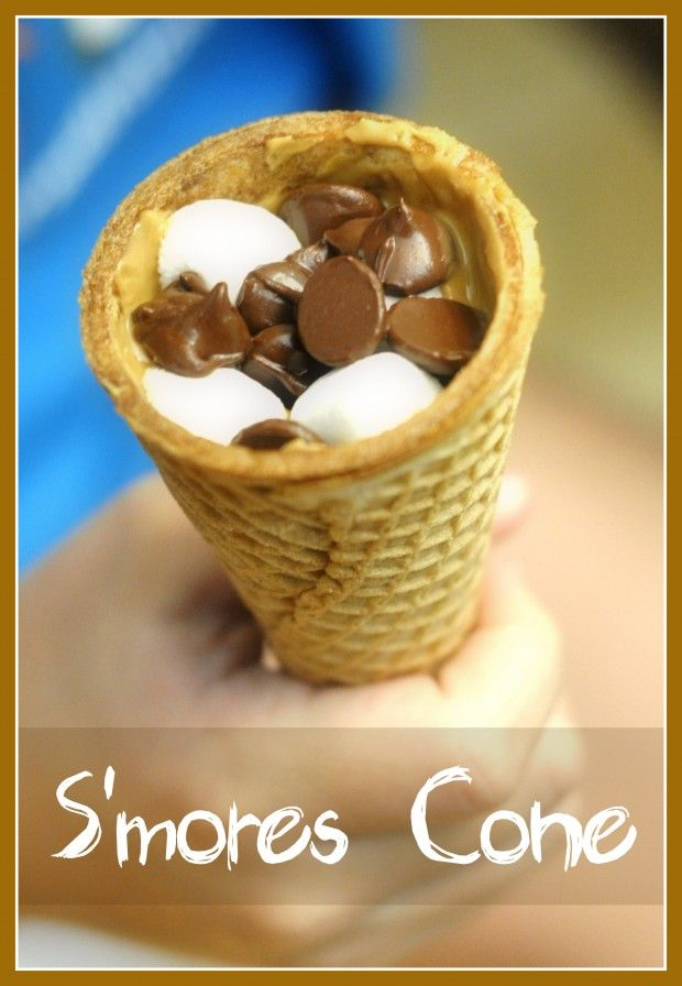 S'mores Cone (Oven Variation of a Campfire Cone) for club snack or summer treat with your kids