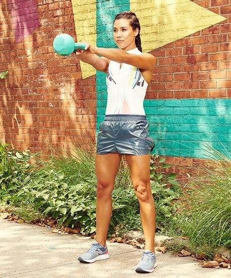 30 Day Kettlebell Workout Challenge | This kettlebell workout challenge will tone your body and it's great for even the newest beginner. #refinery29 http://www.refinery29.com/30-day-kettlebell-exercise-challenge