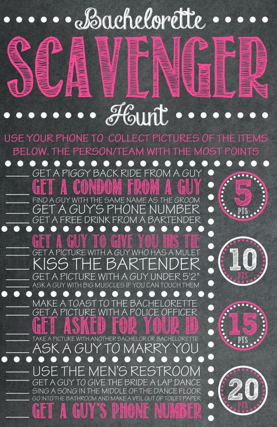 Bachelorette Party Game - INSTANT DOWNLOAD - Scavenger Hunt Pink Chal…