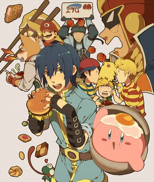 Food Themed Smash Bros Art- look at the fried egg on Kirby's head!