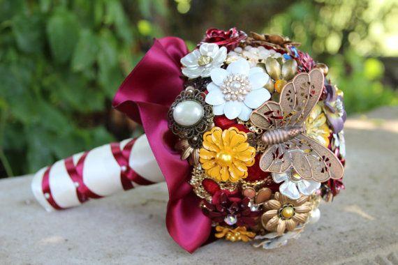 Broche ramo/hecho a mano ramo nupcial broche ramo/broche ramo/Borgoña otoño ramo ramo boda Bouquet/marrón Bouquet de bodas