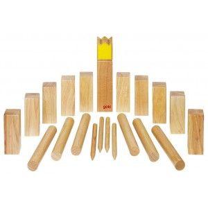Kubb, jeu de vikings en bois grand modèle (roi jaune)