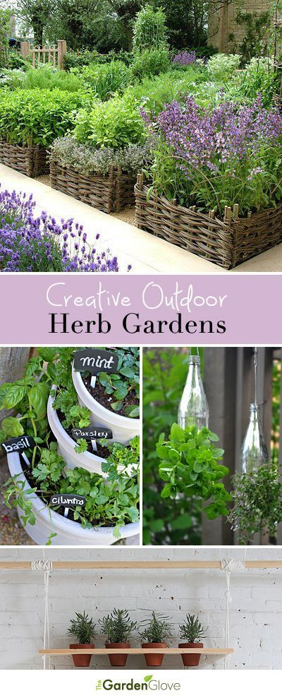 Creative Outdoor Herb Gardens • Ideas and Tutorials! Those basket containers are the bomb!!!!!!