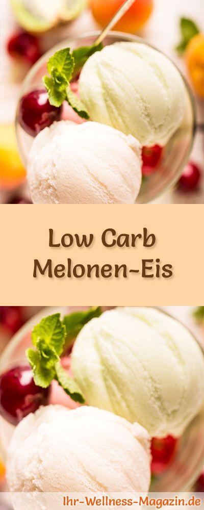Rezept um Low Carb Meloneneis selber zu machen - ein einfaches Eisrezept für kalorienreduzierte, kohlenhydratarme und gesunde Eiscreme ohne Zusatz von Zucker ...